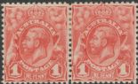SG 17c ACSC 59(1)m. KGV Head 1913 1d Engraved pale shade pair (AESM/5)